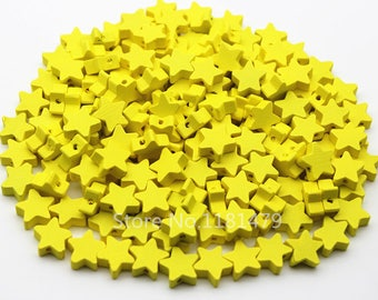 10 beads wood star beads 15 mm yellow color