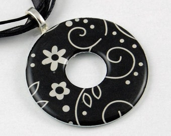 Handmade Upcycled Washer Necklace - Black and White Floral