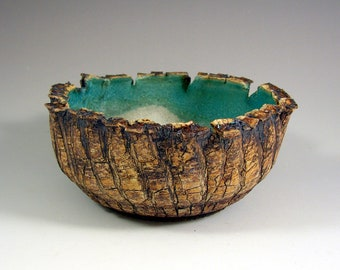 """Ceramic Bowl - """"Where the Forest Meets the Sea II"""" Handmade Art Pottery Centerpiece Bowl - Wheel Thrown Stoneware Art - Ready to Ship"""