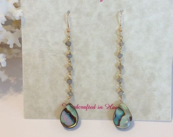 14kt Gold Filled Dangle Earrings with Labradorite and Paua Abalone Teardrops