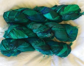 plumfish recycled silk sea green, deep aqua, embroidery knitting crochet craft embellishment yarn 400 grams