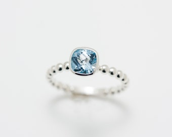 Sterling Silver 6mm Cushion Cut Sky Blue Topaz Solitaire Ring