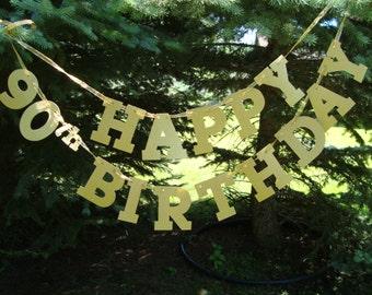 Happy 90th Birthday Banner, 90th Birthday Decoration, 90th Milestone Birthday Banner, 90th Happy Birthday Sign, Celebrating 90