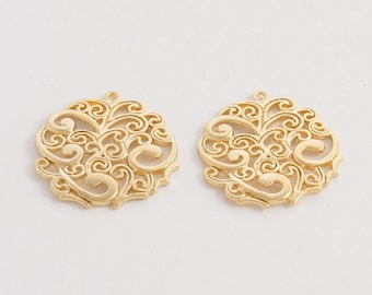 Oriental Filigree Pendant,Jewelry Craft Supplies, Jewelry Supplies, Handmade Jewelry, Matte Gold Plated Over Brass - 2 Pieces-[AP0031]-MG