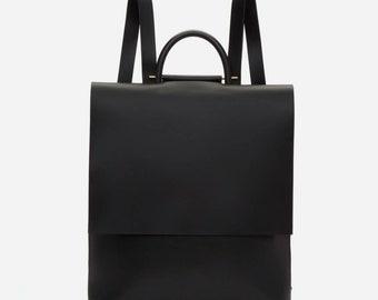 Sac à dos femme en cuir, noir sac à dos, minimalisme dos, fait main, sac à main sac à dos, cadeau, voyage sac à dos cuir, sac femme