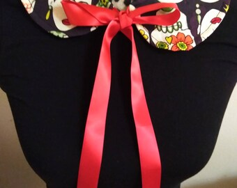 Frida Kahlo Art/ Floral Detachable Collar with Lace
