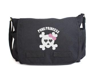 Punk Princess Skull and Bones Messenger Bag, Diaper Bag, Cross Body Bag, Punk Diaper Bag, Baby Shower Gift, Men & Women Bag, Messenger Bag
