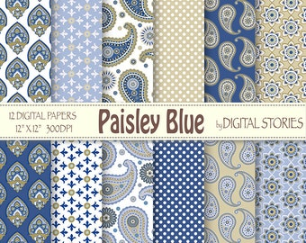 """Paisley Digital Papers: """"PAISLEY BLUE"""" Scrapbook paper pack with paisley patterns in blue, for invites, cards, background"""