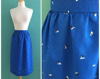 vintage 80's high waist blue skirt // diamond print skirt