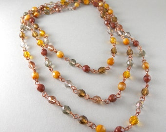 Golden Topaz Czech Glass and Copper Extra Long Hippie Diva Necklace