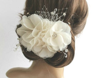 Wedding Fascinator, White Ivory Flower Headpiece, Bridal Hair Piece, Wedding Chiffon Flower Hair Clip, Bridal Hair Accessories, Hair Flowers