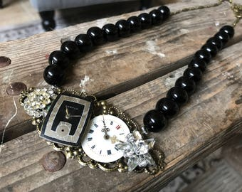 Good Night Vintage Jewelry Assemblage Collage Necklace Watch Rhinestones Black