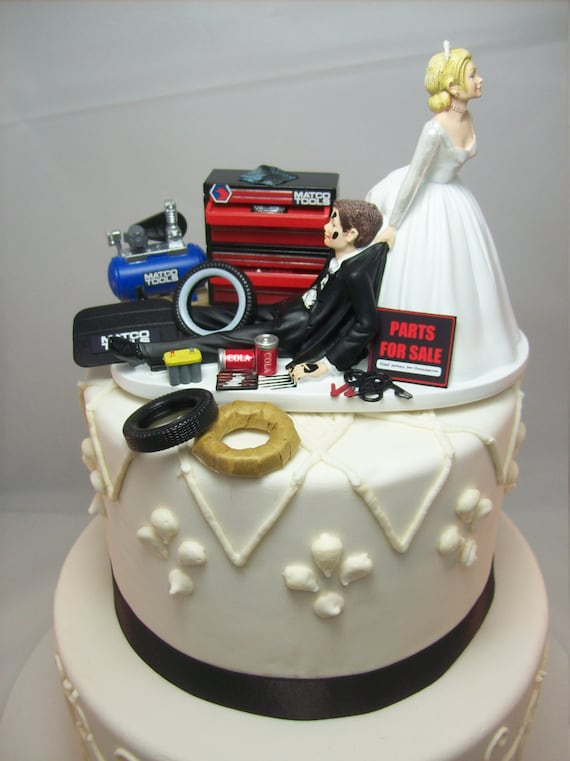 Funny Wedding Cake Topper For Mechanics Auto Mechanic Tools