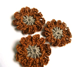Crochet flowers brown applique, wedding flower, mini crochet motifs,12 Petal embellishments,set of 6 crochet applique,linen flower,Scrapbook