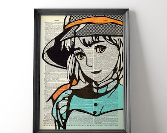 Sophie Poster, Howl's Moving Castle, Studio Ghibli Art, Sophie and Howl Art, Manga Art, Miyazaki, Castle Poster, Anime Movie Art, Unframed