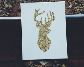 Stag Silhouette on Canvas- Gold