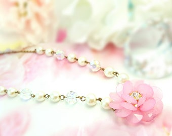 Light Pink Flower Pearl and Crystal Necklace, Pale Pink Bridal Jewelry, Victorian Jewelry, Clear AB Crystal Statement Necklace, N4622