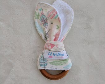 Wooden Teething Ring - Bunny Ear Teething Ring