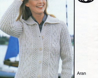c8e3fe3726b1 Womens Aran Jacket with Collar knitting pattern PDF Ladies Aran cardigan  cable jacket 32-42 inch Aran worsted 10ply PDF instant download