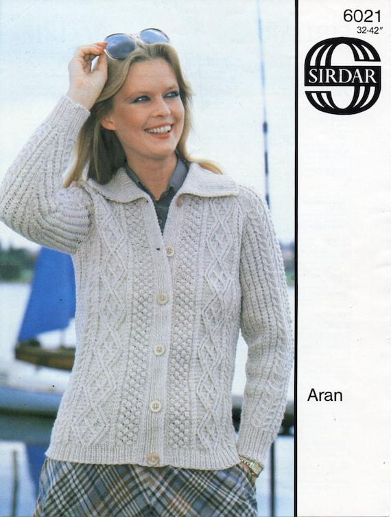 Womens Aran Jacket With Collar Knitting Pattern Pdf Ladies Aran