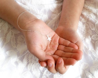 Tiny Star Necklace, Sterling Silver Charm Necklace, Children's Star Charm Necklace