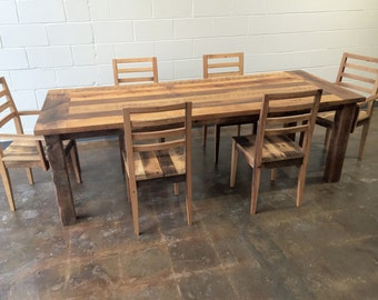 Reclaimed Wood Extendable Farmhouse Dining Table / Smooth Finish U0026  Extension Leaf