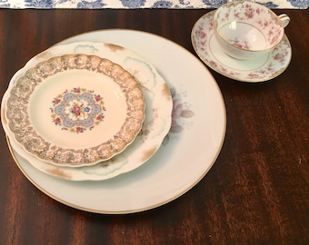Vintage, Mismatched 3 piece Place Setting for, weddings, tea parties, dinner parties, bridal , baby showers, hostess, bridesmaid gifts 6008