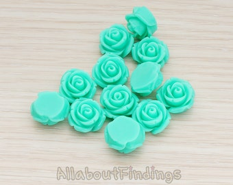 CBC141-01-GR // Green Colored Curved Petal Rose Flower Flat Back Cabochon, 6 Pc