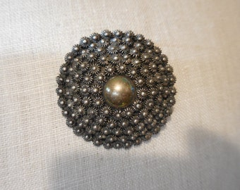 Vintage 1980s to 1990s Made in Mexico .925 Sterling Silver Flower Pin/Brooch/Pedant Round