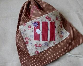 """Dots"" Brown and ecru linen bag"