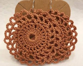 Dark beige/copper large crochet lace mandala earrings