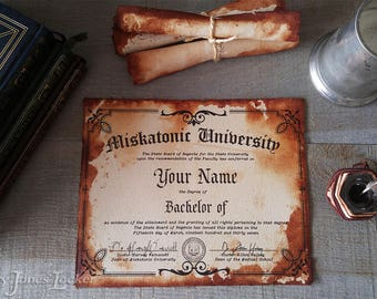 Personalized Miskatonic certificate/diploma - H.P. Lovecraft - Cthulhu - Classic version