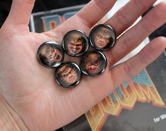 DOOM Faces - pack of 5 one inch pins