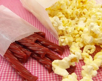 "25 Gusseted Glassine Popcorn Bags . 4"" x 2.5"" x 8.5"", Gusseted Glassine Bags, Gusseted Bakery Bags"