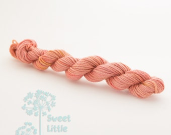 Mini DK skein - Beautiful hand dyed salmon hank superwash merino wool