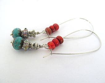 Turquoise Coral Earrings, Silver Hoop Earrings, Southwest Jewelry, Fashion Earrings, Picasso Beads, Bohemian Jewelry, Moonlilydesigns
