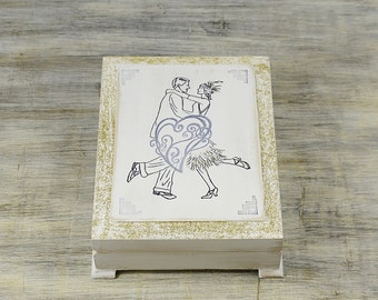 White Wedding Ring Box Personalized Ring Box Wedding band box Ring bearer pillow Wooden ring bearer Art Deco ring holder Engagement ring box