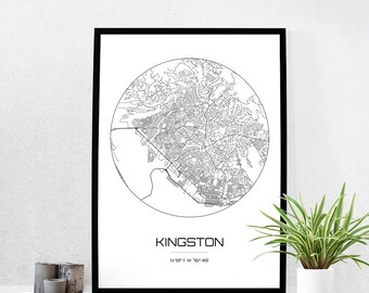 Kingston Map Print - City Map Art of Kingston Jamaica Poster - Coordinates Wall Art Gift - Travel Map - Office Home Decor