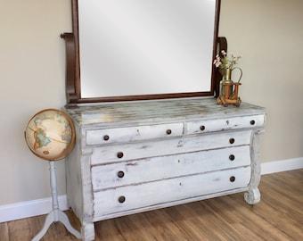 Farmhouse Dresser - Shabby Chic Furniture - Antique Dressing Table - Large White Dresser Farmhouse Dresser - Empire Furniture - 1800s