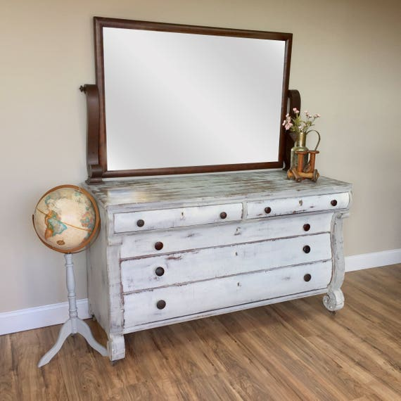 Farmhouse Dresser - Shabby Chic Furniture - Antique Dressing Table - Large White Dresser Farmhouse Dresser - Empire Furniture - 1800s