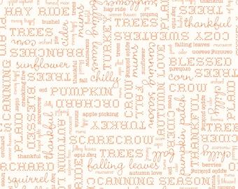 Autumn Love by Lori Holt Text Cream (C7361-CREAM)