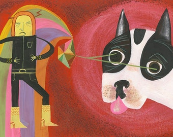 Even the most evil villain could not resist Charlie's laser gaze. Original gouache painting by Matte Stephens.