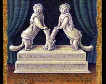 Funny animal painting, Marmorean:  Marmots in togas, sculpted in marble to form the letter M. Latin inscription, pet memorial, scholar gift