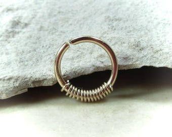 Gold with Gold Wrap Nose Ring - Nose Ring, Super Thin Nose Ring, Gold Nose Ring, Nose Jewelry, Nose Jewellery, 24 Gauge Nose Ring, Delicate