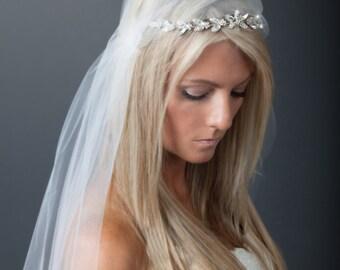 Juliet Cap Veil with Demi Crown