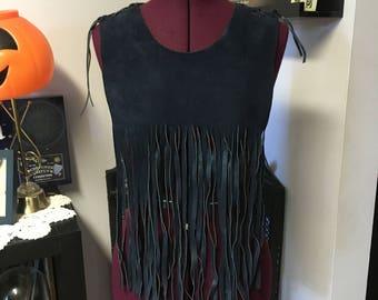 Boho fringe overlay vest/cape