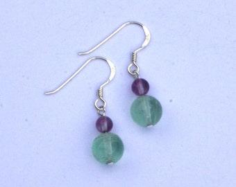 Sterling silver and fluorite gemstone bead earrings. Hypoallergenic earrings. Purple green blue clear earrings. beaded earrings. Capricorn