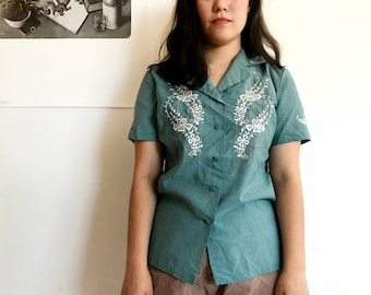vintage teal embroidered button down shirt