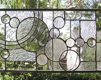 """Arts and Crafts Style Circles--10"""" x 21"""" Stained Glass Window Panel"""