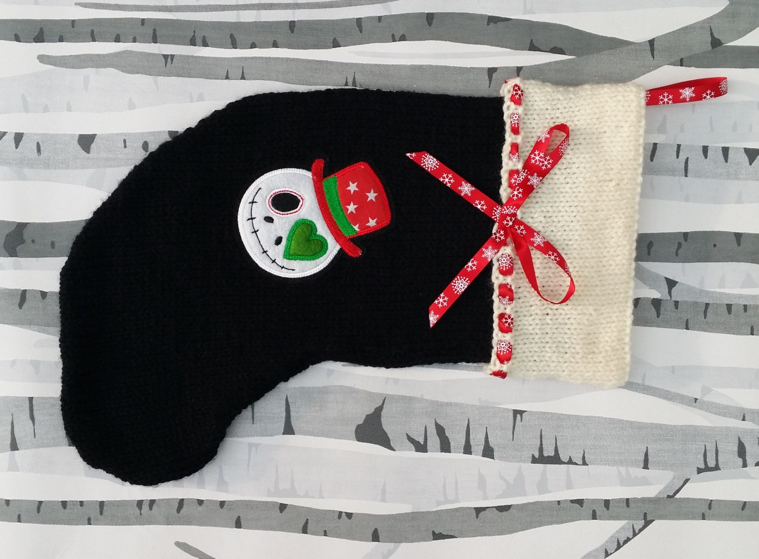 Nightmare Before Christmas Style Stocking Hand Knitted Xmas